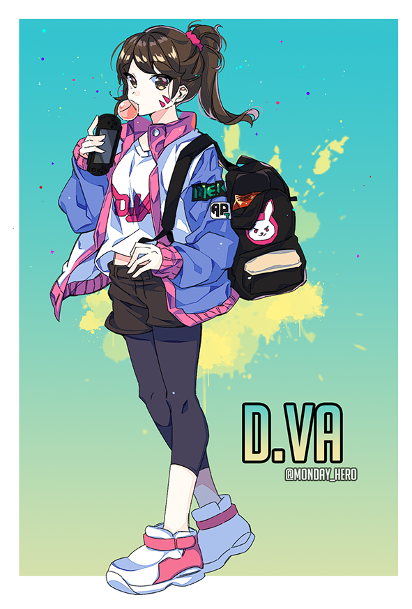 1girl adapted_costume alternate_hairstyle backpack bag brown_eyes brown_hair bubble_blowing casual chewing_gum d.va_(overwatch) full_body hair_ornament hair_scrunchie handheld_game_console hero_(ahnhannah) jacket leggings letterman_jacket looking_at_viewer overwatch playstation_vita ponytail scrunchie shirt shoes shorts sneakers solo t-shirt twitter_username whisker_markings