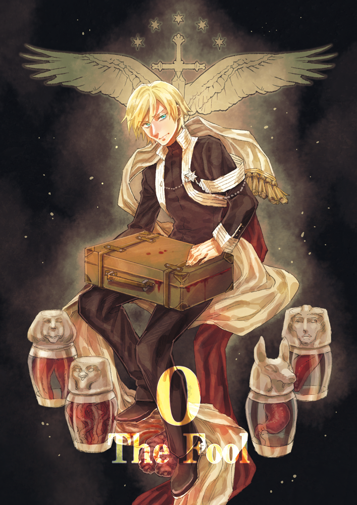 1boy black_background black_pants blonde_hair blood blue_eyes canopic_jar david_canopus invisible_chair liver long_sleeves male_focus moromie-mizu organs pants pixiv_fantasia pixiv_fantasia_last_saga sitting solo suitcase