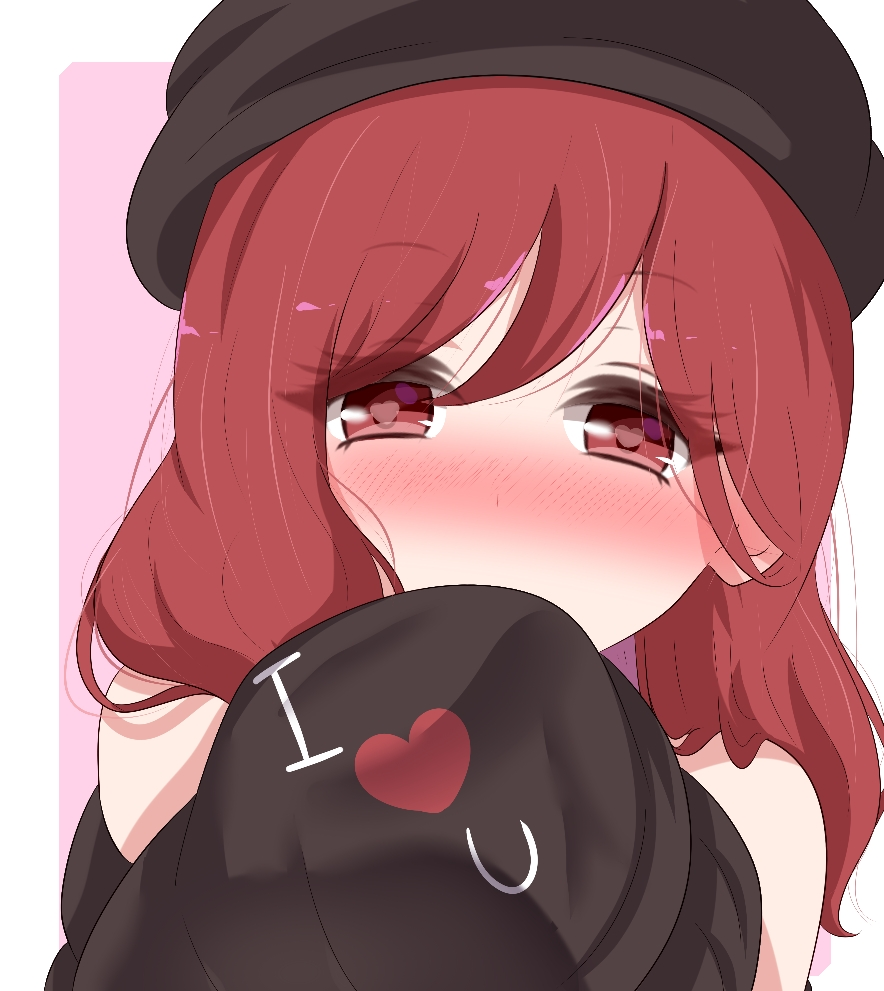 1girl bangs bare_shoulders beret black_headwear black_shirt blush border clothes_writing commentary english_commentary eyebrows_visible_through_hair eyelashes hair_between_eyes hat heart heart-shaped_pupils hecatia_lapislazuli holding_clothes long_hair looking_at_viewer nose_blush off_shoulder outside_border pink_background portrait red_eyes redhead shirt simple_background solo symbol-shaped_pupils t-shirt touhou white_border yukome