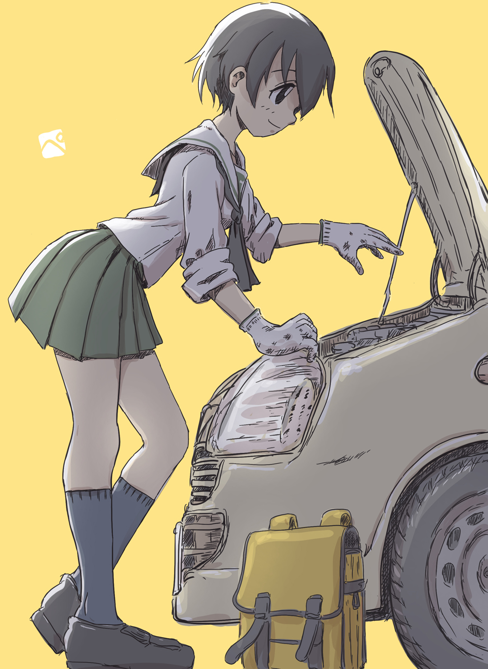 1girl artist_logo backpack bag bangs black_legwear black_neckwear blouse brown_eyes brown_footwear brown_hair car closed_mouth commentary from_behind girls_und_panzer gloves green_skirt ground_vehicle heel_raised highres kainushi leaning_forward loafers long_sleeves miniskirt motor_vehicle nakajima_(girls_und_panzer) neckerchief ooarai_school_uniform pleated_skirt school_uniform serafuku shoes short_hair simple_background skirt sleeves_rolled_up smile socks solo standing white_blouse white_gloves yellow_background