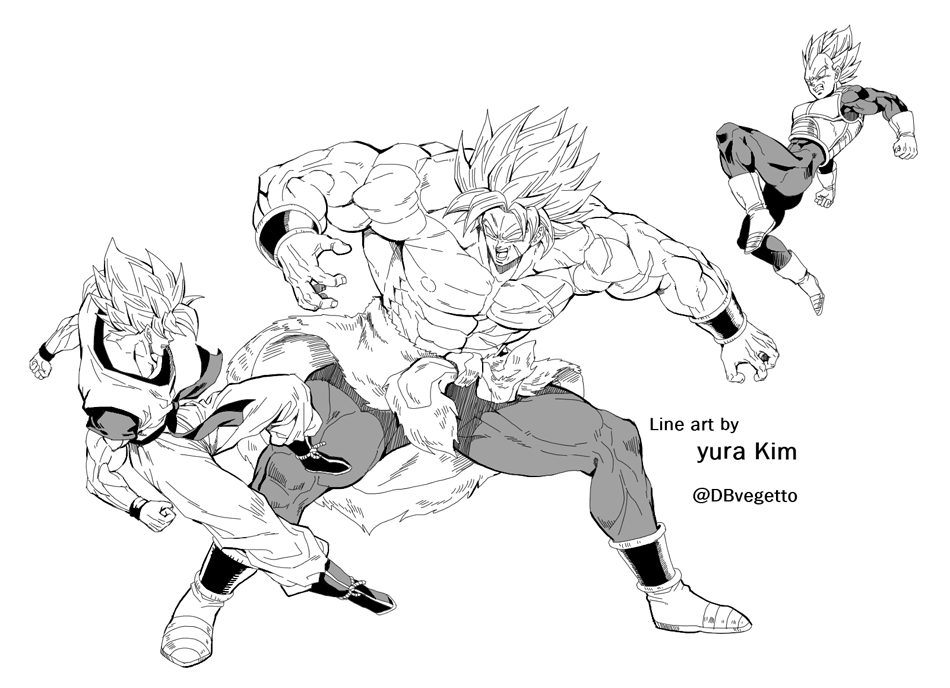 3boys abs armor artist_name blank_eyes boots broly_(dragon_ball_super) dougi dragon_ball dragon_ball_super dragon_ball_super_broly gloves kim_yura_(goddess_mechanic) male_focus monochrome multiple_boys muscle scar shirtless son_gokuu super_saiyan super_saiyan_full_power twitter_username vegeta wristband