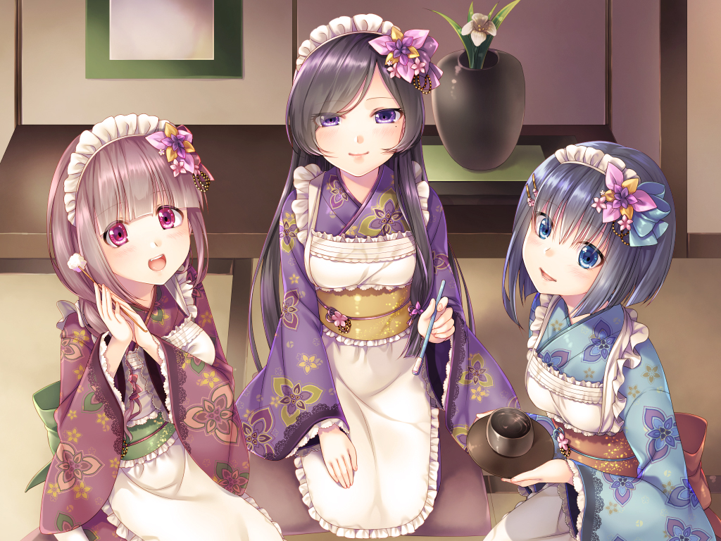 3girls :d apron bangs black_hair blue_eyes blue_kimono blunt_bangs floral_print flower hair_flower hair_ornament hands_together hiiron indoors japanese_clothes kimono long_hair maid maid_headdress mimikaki multiple_girls obi open_mouth parted_bangs pink_eyes plant potted_plant purple_kimono red_kimono sash seiza short_hair sitting smile tea very_long_hair violet_eyes wa_maid wide_sleeves