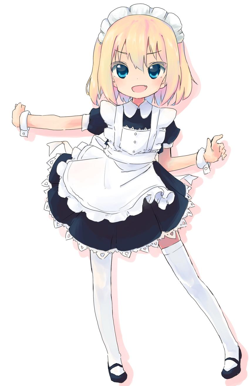 1girl alternate_costume apron bangs black_dress black_footwear blonde_hair blue_eyes commentary dress enmaided eyebrows_visible_through_hair fang frilled_apron frills full_body gingerbullet girls_und_panzer highres katyusha lace lace-trimmed_dress looking_at_viewer maid maid_apron maid_headdress mary_janes open_mouth puffy_short_sleeves puffy_sleeves shadow shoes short_dress short_hair short_sleeves simple_background smile solo standing thigh-highs white_apron white_background white_legwear wrist_cuffs