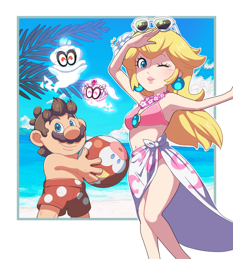 1boy 1girl arm_up armpits ball beach beachball bikini blonde_hair blue_eyes brown_hair cappy_(mario) character_print closed_eyes earrings female_swimwear flower_on_head ghost hosinoirie male_swimwear mario mario_(series) moon_print navel nintendo nintendo_ead pink_bikini plumber princess princess_peach sky summer sunglasses sunglasses_on_head super_mario_bros. super_mario_odyssey super_smash_bros. swim_trunks tiara_(mario)
