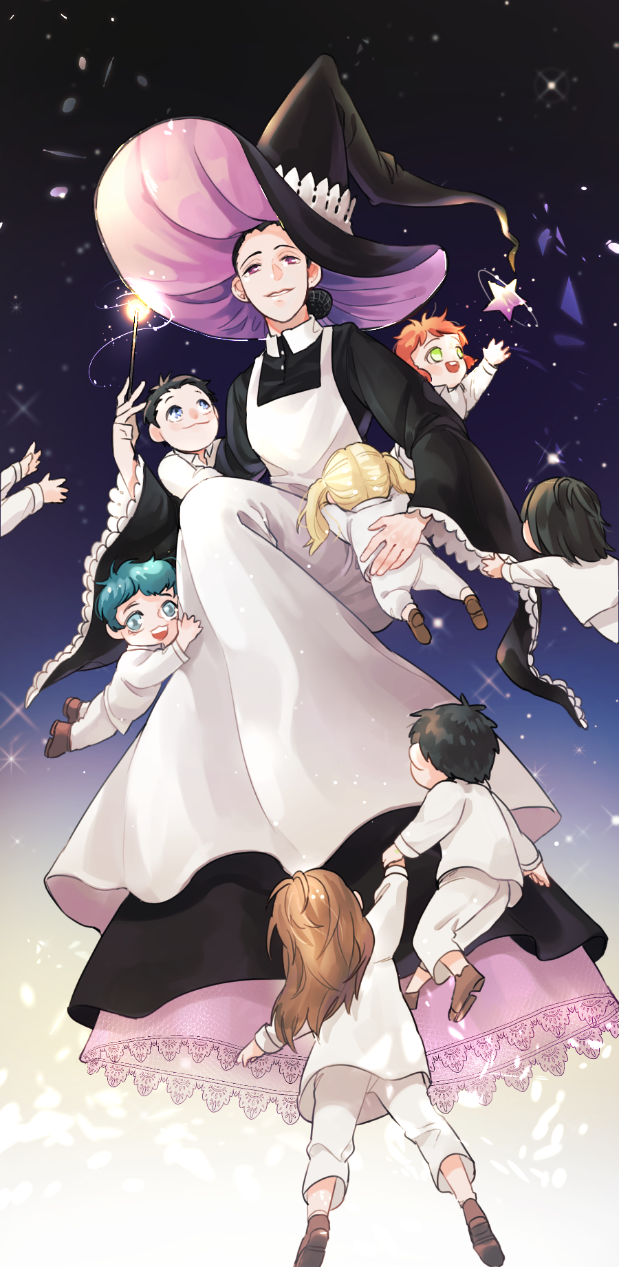 3boys 4girls :d apron aqua_hair black_hair blonde_hair brown_footwear brown_hair child emma_(yakusoku_no_neverland) gradient gradient_background green_eyes hat highres holding holding_wand isabella_(yakusoku_no_neverland) multiple_boys multiple_girls nawooteto open_mouth orange_hair outstretched_arms pink_eyes short_twintails smile star twintails wand wide_sleeves witch_hat yakusoku_no_neverland younger