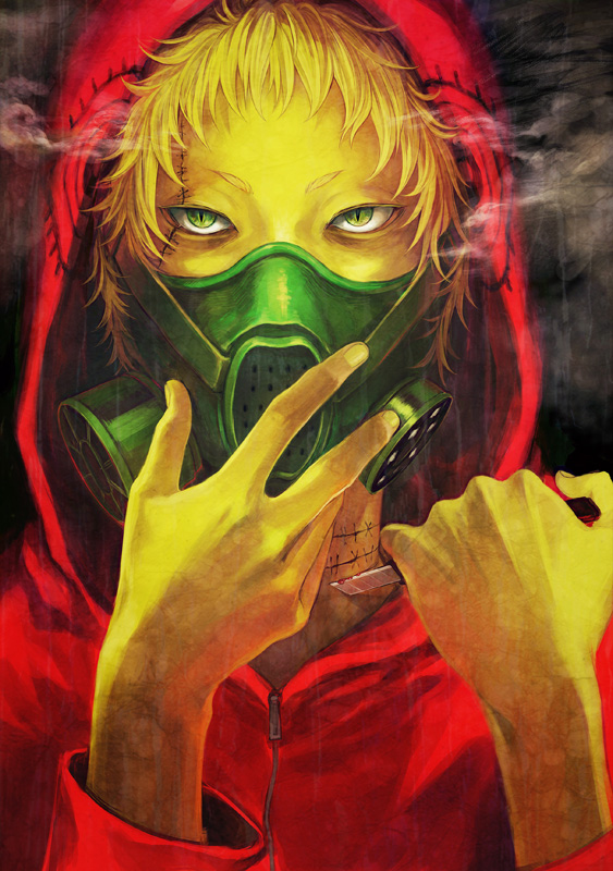 1boy blonde_hair blood boxcutter commentary_request expressionless face gas_mask green_eyes hands holding holding_boxcutter hood hoodie jacket looking_at_viewer male_focus mask original red_jacket scar smoke uraki_(tetsu420) zipper