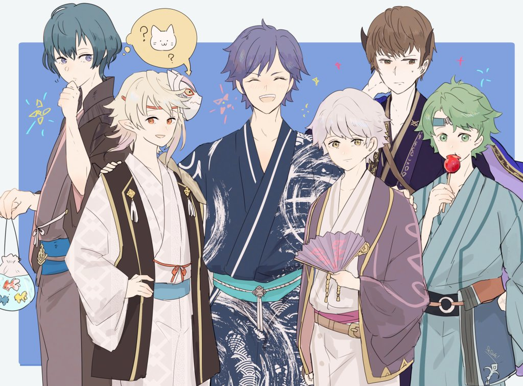 6+boys alm_(fire_emblem) bag bagged_fish berkut_(fire_emblem) blue_eyes blue_hair brown_eyes brown_hair byleth byleth_(male) candy_apple cat chrom_(fire_emblem) dragon_boy eating elf fan fire_emblem fire_emblem:_fuukasetsugetsu fire_emblem:_kakusei fire_emblem:_three_houses fire_emblem_awakening fire_emblem_echoes:_shadows_of_valentia fire_emblem_fates fire_emblem_gaiden fire_emblem_if fish folding_fan food frown green_eyes green_hair hand_on_another's_shoulder hand_on_hip hand_on_own_head headband holding holding_food human intelligent_systems japanese_clothes kamui_(fire_emblem) kimono lilith_(fire_emblem) looking_at_viewer male_focus male_my_unit_(fire_emblem:_fuukasetsugetsu) male_my_unit_(fire_emblem:_kakusei) male_my_unit_(fire_emblem_if) mask mask_on_head multiple_boys my_unit_(fire_emblem:_fuukasetsugetsu) my_unit_(fire_emblem:_kakusei) my_unit_(fire_emblem_if) nintendo open_mouth pointy_ears print_kimono red_eyes reflet robin_(fire_emblem) robin_(fire_emblem)_(male) sasaki_(dkenpisss) silver_hair smile summer summer_festival super_smash_bros. sweatdrop thinking thought_bubble