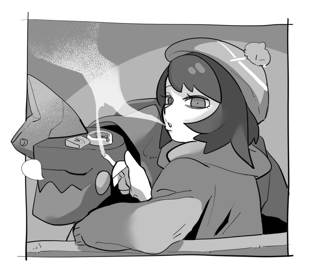 1girl ashtray bangs bob_cut cardigan chillarism cigarette closed_eyes drednaw female_protagonist_(pokemon_swsh) long_sleeves looking_back monochrome pokemon pokemon_(game) pokemon_swsh short_hair sitting sleeping smoking tam_o'_shanter