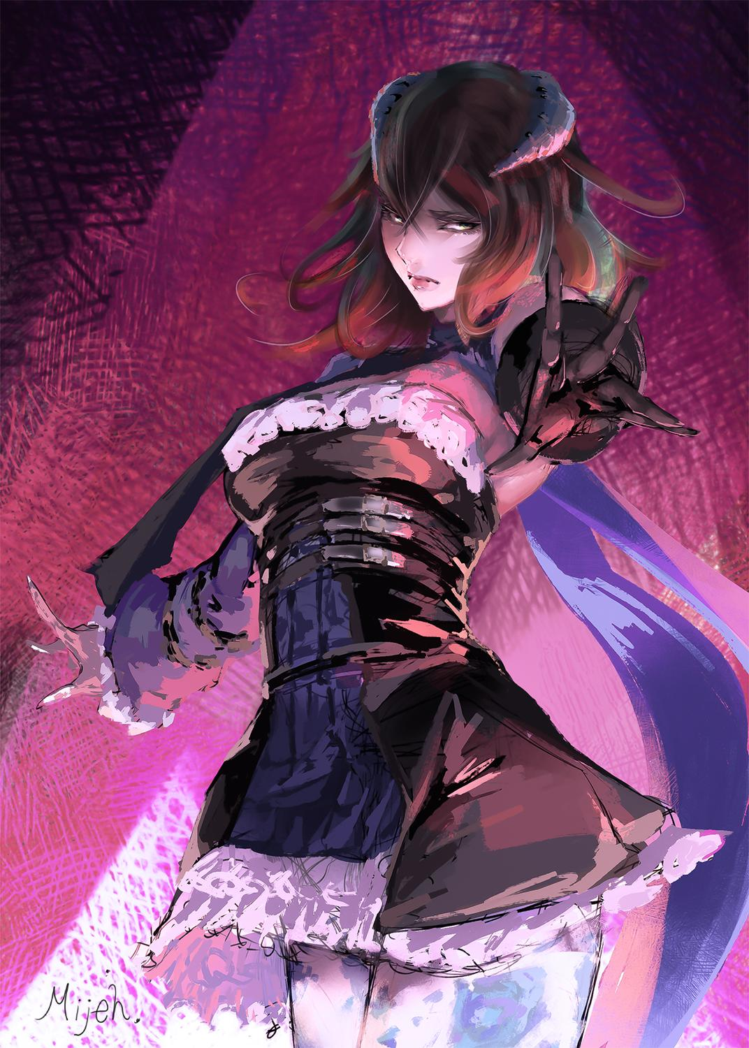1girl artist_request black_hair bloodstained:_ritual_of_the_night blue_eyes breasts brown_hair detached_sleeves gauntlets gradient_hair hair_between_eyes hair_ornament highres horns looking_at_viewer miriam_(bloodstained) multicolored_hair pale_skin short_hair solo stained_glass