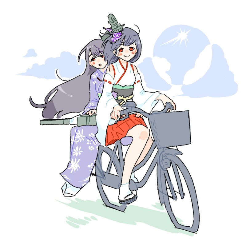 2girls :d bangs bicycle bicycle_basket black_hair blush closed_mouth clouds detached_sleeves elite_unchi eyebrows_visible_through_hair flower full_body fusou_(kantai_collection) geta ground_vehicle hair_between_eyes hair_flower hair_ornament hakama hakama_skirt hydrangea japanese_clothes kantai_collection kimono long_hair long_sleeves medium_hair multiple_girls nontraditional_miko obi open_mouth pleated_skirt purple_kimono red_eyes red_hakama red_ribbon ribbon ribbon-trimmed_sleeves ribbon_trim rudder_footwear sash simple_background sitting skirt smile sun tabi turret white_background white_kimono white_legwear wide_sleeves yamashiro_(kantai_collection)