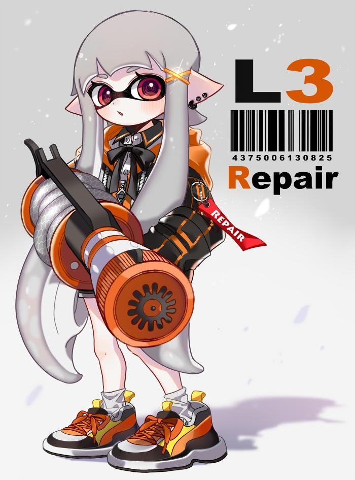 1girl :o bangs barcode black_coat black_neckwear black_shorts blunt_bangs collared_shirt commentary cross-laced_footwear domino_mask earrings english_text full_body grey_hair hair_ornament holding holding_weapon hooded_coat inkling jewelry l-3_nozzlenose_(splatoon) light_blush light_particles long_hair long_sleeves maco_spl mask neck_ribbon orange_footwear parted_lips pointy_ears red_eyes ribbon shadow shirt shoes short_shorts shorts sneakers socks solo sparkle splatoon_(series) splatoon_2 stud_earrings tentacle_hair very_long_hair weapon white_legwear x_hair_ornament