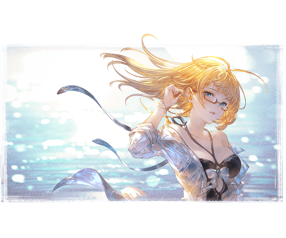 1girl alpha_transparency arm_up bare_shoulders black_swimsuit blonde_hair blue_eyes blush bow bracelet breasts brooch collarbone eyebrows_visible_through_hair friday_(granblue_fantasy) glasses granblue_fantasy halter_top halterneck jewelry large_breasts long_hair looking_at_viewer minaba_hideo off_shoulder official_art one-piece_swimsuit open_clothes open_shirt parted_lips red-framed_eyewear semi-rimless_eyewear shirt solo swimsuit under-rim_eyewear upper_body white_bow white_shirt
