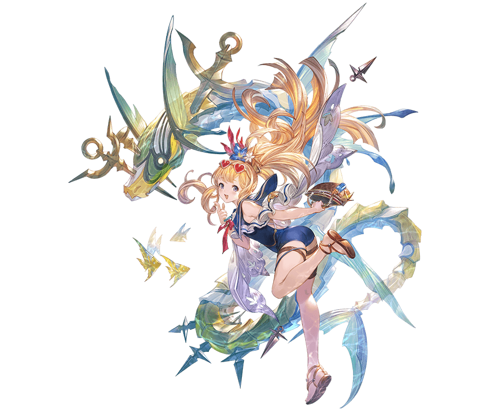 1girl :d alpha_transparency ass bag bangs blonde_hair blue_flower blue_swimsuit blush cagliostro_(granblue_fantasy) eyewear_on_head fish flower full_body granblue_fantasy hair_flower hair_ornament handbag heart heart-shaped_eyewear long_hair looking_at_viewer minaba_hideo official_art one-piece_swimsuit open_mouth sandals smile solo sunglasses swimsuit thigh_strap transparent_background violet_eyes white_flower
