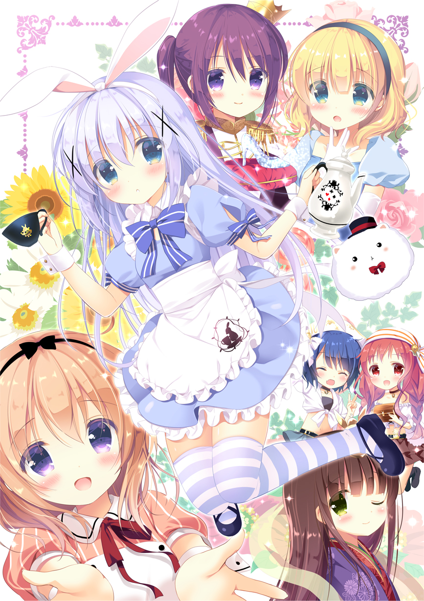 6+girls :d :o aono_ribbon apron bare_shoulders belt belt_buckle black_belt black_hairband black_headwear blonde_hair blue_dress blue_eyes blue_footwear blue_hair blue_skirt blush bow bowtie braid brown_dress brown_hair brown_skirt buckle closed_mouth commentary_request crown cup detached_sleeves dress epaulettes flower frilled_apron frills front-tie_top gloves gochuumon_wa_usagi_desu_ka? green_eyes hairband hat highres holding holding_cup holding_teapot hoto_cocoa jacket japanese_clothes jouga_maya kafuu_chino kimono kirima_sharo light_brown_hair long_hair mini_crown mini_hat multiple_girls natsu_megumi open_mouth parted_lips pleated_skirt puffy_short_sleeves puffy_sleeves purple_hair purple_jacket purple_kimono red_eyes red_neckwear redhead shirt shoes short_sleeves skirt smile striped striped_legwear sunflower tedeza_rize thigh-highs tied_shirt tilted_headwear tippy_(gochiusa) twin_braids twintails ujimatsu_chiya vertical-striped_dress vertical_stripes very_long_hair violet_eyes waist_apron white_apron white_gloves white_shirt white_sleeves yellow_flower