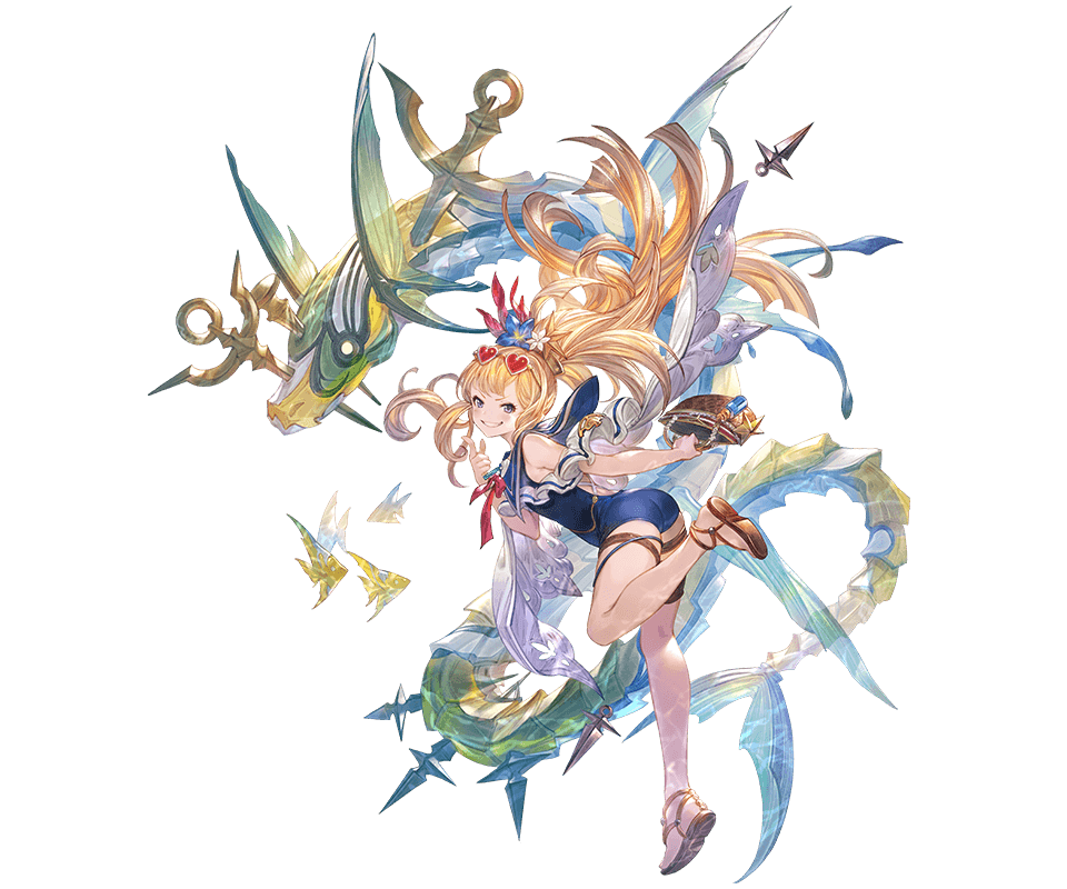 1girl alpha_transparency ass bag bangs blonde_hair blue_flower blue_swimsuit blush cagliostro_(granblue_fantasy) eyewear_on_head fish flower full_body granblue_fantasy grin hair_flower hair_ornament handbag heart heart-shaped_eyewear long_hair looking_at_viewer minaba_hideo official_art one-piece_swimsuit sandals smile solo sunglasses swimsuit thigh_strap transparent_background violet_eyes white_flower