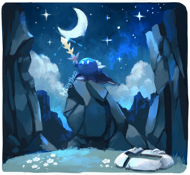 artsy-theo boulder broken_mask cape cliff clouds flower frown grass kirby's_star_stacker kirby_(series) meta_knight moon signature sky star_(sky) starry_sky sword weapon