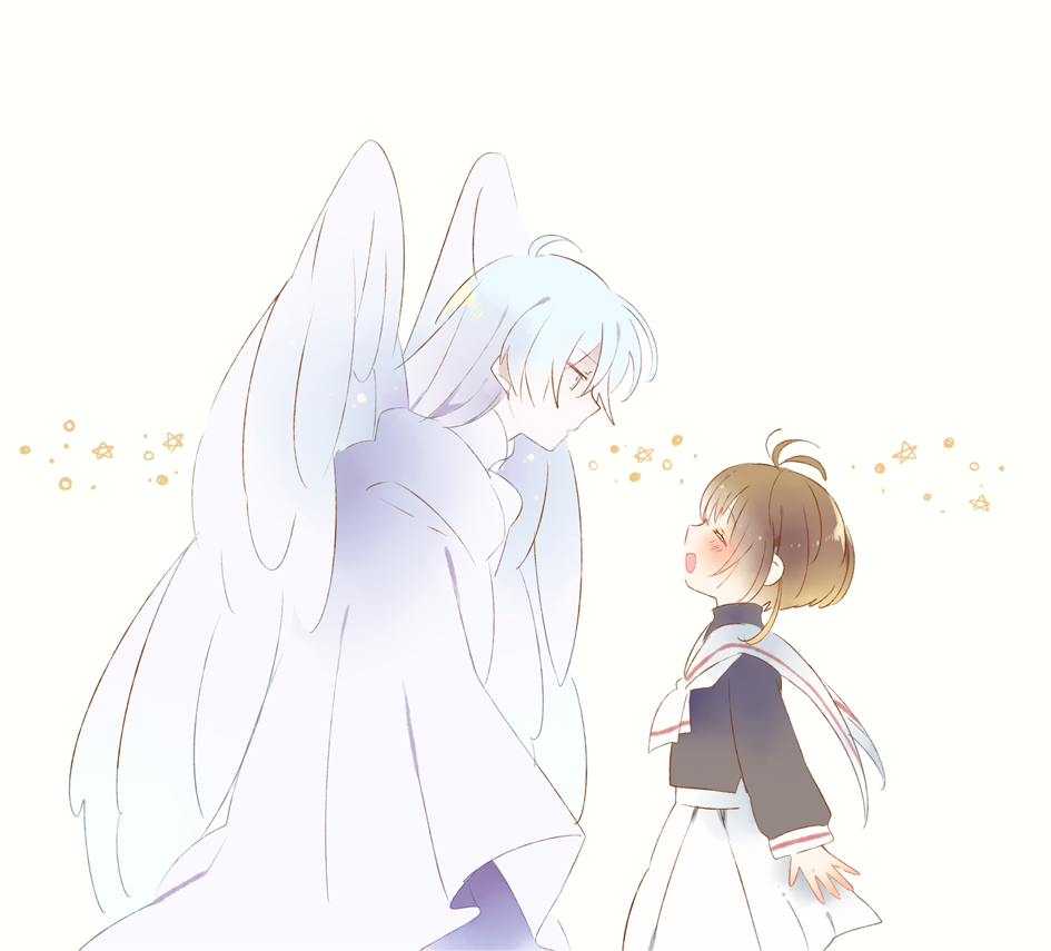 1boy 1girl ^_^ ahoge angel_wings arms_at_sides ascot black_blouse blouse blue_eyes blush brown_hair cardcaptor_sakura child closed_eyes expressionless facing_another from_side futong_jun gradient_hair happy height_difference jitome kinomoto_sakura long_hair long_sleeves looking_at_another multicolored_hair open_mouth parted_lips pleated_skirt profile puffy_sleeves sailor_collar school_uniform serafuku short_hair simple_background skirt sleeve_cuffs smile star tomoeda_elementary_school_uniform turtleneck white_background white_hair white_neckwear white_sailor_collar wings yue_(ccs) |d