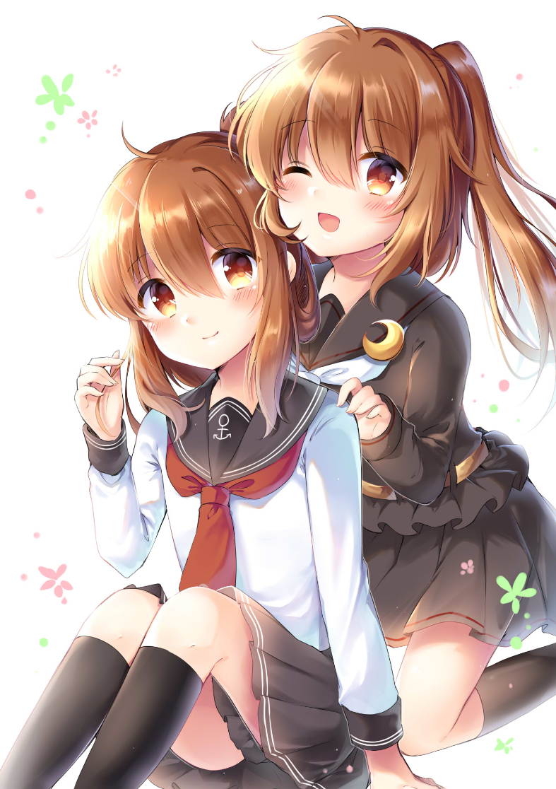 2girls ;d adapted_costume bangs belt black_legwear black_sailor_collar black_serafuku blush brown_eyes brown_hair check_commentary commentary_request crescent crescent_moon_pin eyebrows_visible_through_hair folded_ponytail fumizuki_(kantai_collection) hair_between_eyes hand_on_another's_shoulder inazuma_(kantai_collection) kantai_collection kneehighs long_hair long_sleeves look-alike looking_at_viewer megu_kaze multiple_girls neckerchief one_eye_closed open_mouth playing_with_own_hair pleated_skirt ponytail red_neckwear sailor_collar school_uniform serafuku skirt smile white_neckwear