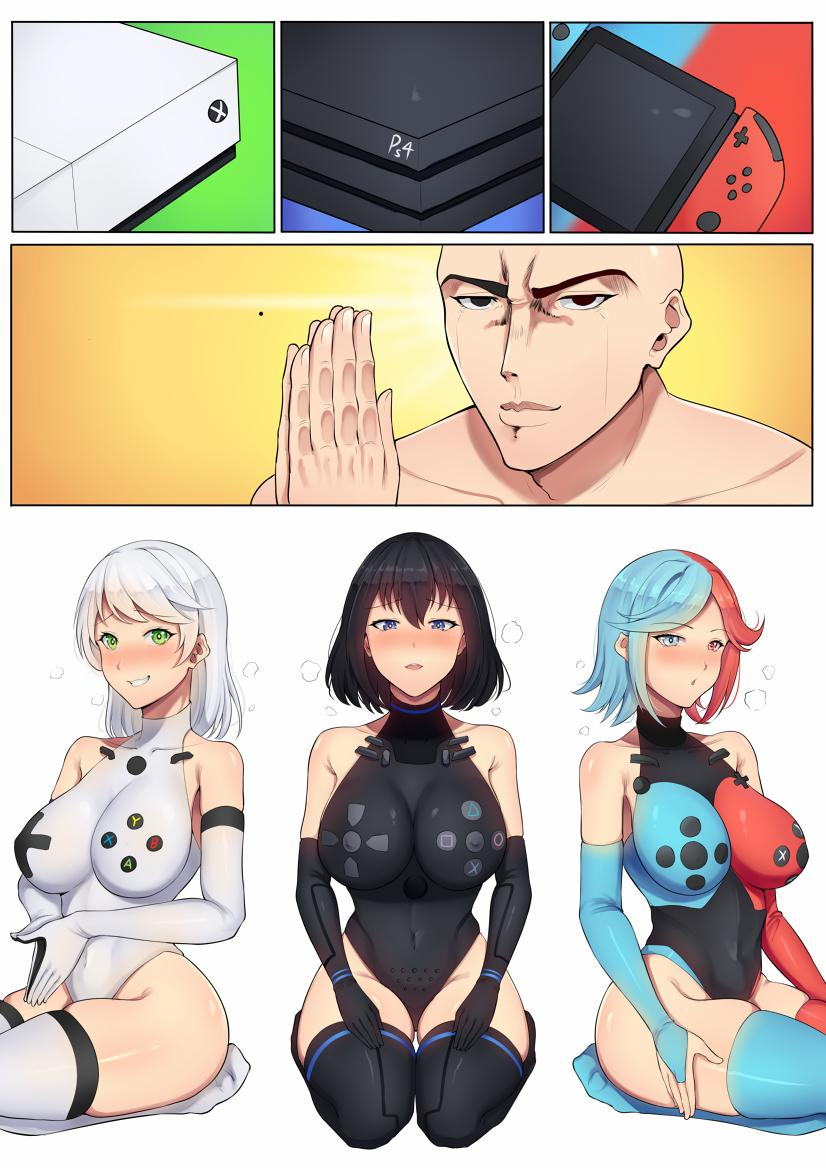 1boy 3girls band-width black_hair black_legwear black_leotard blue_hair blue_legwear blush bodysuit breasts bridal_gauntlets commission covered_navel elbow_gloves game_console gloves green_eyes hands_together heterochromia impossible_clothes impossible_leotard large_breasts leotard microsoft multicolored_hair multiple_girls nintendo nintendo_switch nude original os-tan personification playstation_4 real_life red_legwear redhead seiza sitting sony thick_thighs thigh-highs thighs white_hair white_legwear white_leotard xbox_one you_gonna_get_raped