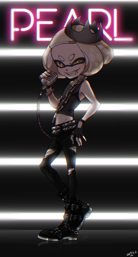 +_+ 1girl bangs black_footwear black_gloves black_headwear black_legwear black_shirt black_skirt blunt_bangs boots brown_eyes character_name commentary crown dated domino_mask english_commentary fingerless_gloves flat_chest from_side full_body gloves grey_hair half-closed_eyes hime_(splatoon) holding lip_piercing looking_at_viewer mask midriff miniskirt mole mole_under_mouth open_mouth pantyhose piercing radio shirt short_hair skirt sleeveless sleeveless_shirt smile smirk solo spiked_belt splatoon_(series) splatoon_2 standing standing_on_one_leg tentacle_hair torn_clothes torn_legwear yeneny