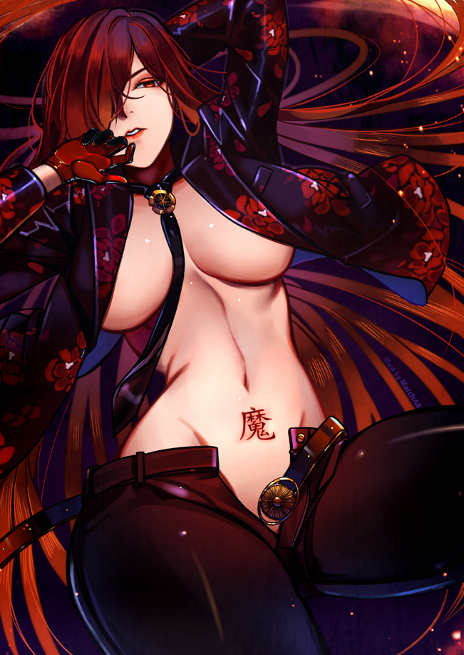 1girl belt between_breasts breasts commentary_request fate/grand_order fate_(series) floral_print hair_over_one_eye large_breasts long_hair looking_at_viewer lying navel necktie necktie_between_breasts oda_nobunaga_(fate) oda_nobunaga_(maou_avenger)_(fate) oda_uri on_back open_clothes open_pants open_shirt red_eyes redhead smile solo translated upper_body