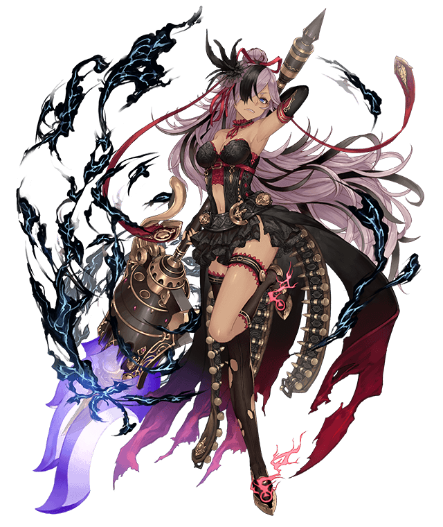 1girl ammunition_belt asymmetrical_clothes belt blue_eyes center_opening cinderella_(sinoalice) dark_skin dress frilled_dress frills frown full_body hair_bun hair_over_one_eye ji_no kneehighs lavender_hair long_hair looking_at_viewer official_art polearm single_kneehigh single_thighhigh sinoalice smoke solo thigh-highs thigh_strap transparent_background very_long_hair weapon