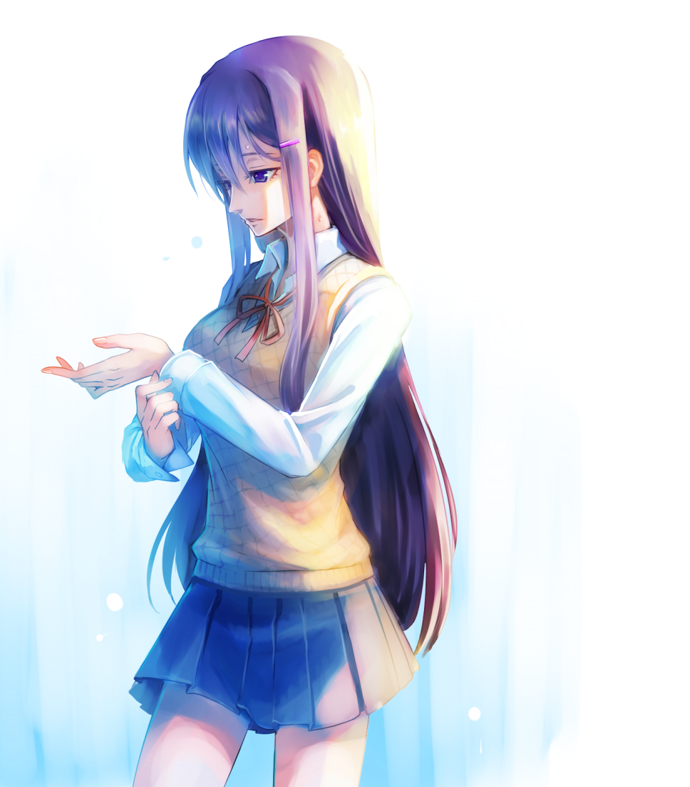 1girl blue_skirt cowboy_shot doki_doki_literature_club hair_ornament hairclip long_hair long_sleeves looking_away orange_vest parted_lips pleated_skirt purple_hair school_uniform shirt sidelocks simple_background skirt solo sweat very_long_hair white_background white_shirt wing_collar yuri_(doki_doki_literature_club)