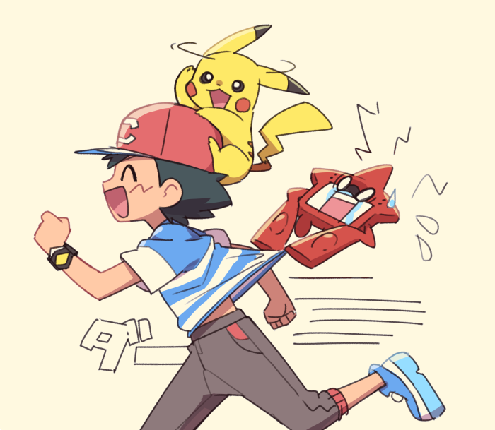 1boy ame_(ame025) ash_ketchum bangs baseball_cap black_hair blue_footwear bracelet brown_pants closed_eyes commentary_request flying_sweatdrops from_side gen_1_pokemon gen_4_pokemon hat jewelry male_focus motion_lines on_head open_mouth pants pikachu pokemon pokemon_(anime) pokemon_(creature) pokemon_on_head pokemon_sm_(anime) red_headwear rotom rotom_dex running shirt shoes short_hair short_sleeves smile striped striped_shirt t-shirt tongue z-ring  d