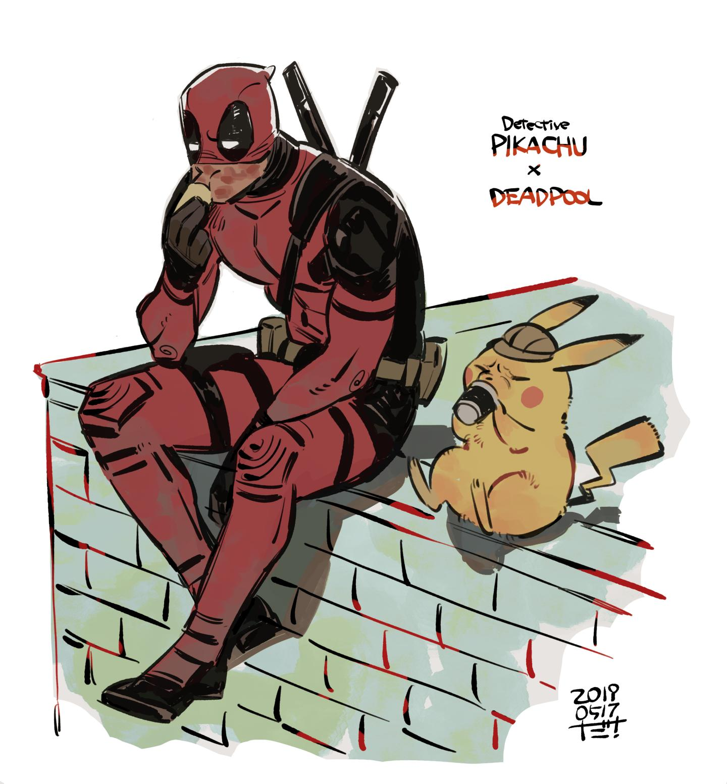 1boy 1other animal artist_name belt black_footwear black_gloves blush_stickers bodysuit boots brown_headwear building character_name closed_eyes commentary creatures_(company) cup dam_(okdam3) dated deadpool deerstalker detective_pikachu detective_pikachu_(series) disney drinking eating food game_freak gen_1_pokemon gloves hat highres holding holding_cup holding_food leaning_forward long_sleeves marvel mask_up mouse nintendo pikachu pokemon pokemon_(creature) red_bodysuit ryan_reynolds seiyuu_connection shadow signature sitting superhero sword utility_belt voice_actor_connection warner_bros weapon