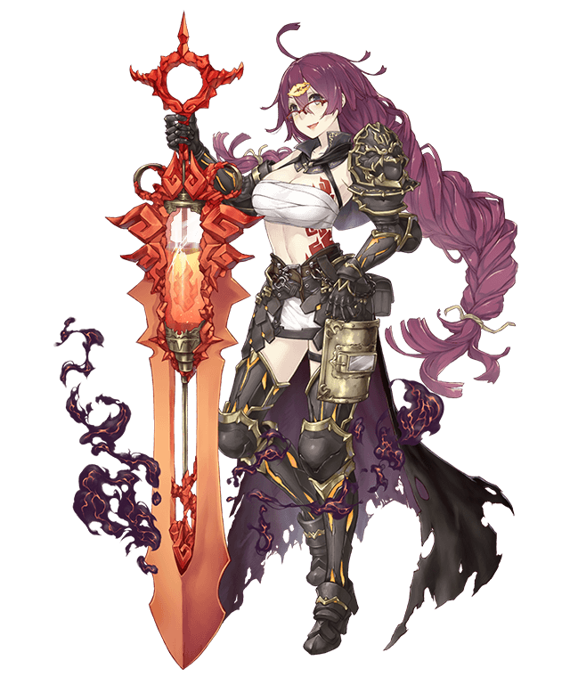 1girl :d ahoge armored_boots boots braid breasts cape dorothy_(sinoalice) full_body gauntlets glasses grey_eyes hair_ornament hairclip hand_on_hip holding holding_weapon huge_weapon ji_no large_breasts long_hair looking_at_viewer mask mask_removed messy_hair midriff official_art open_mouth over-rim_eyewear pouch purple_hair sarong semi-rimless_eyewear shoulder_armor sinoalice smile smoke solo sword tattoo thigh-highs thigh_boots torn_cape torn_clothes transparent_background very_long_hair vial waist_cape weapon welding_mask