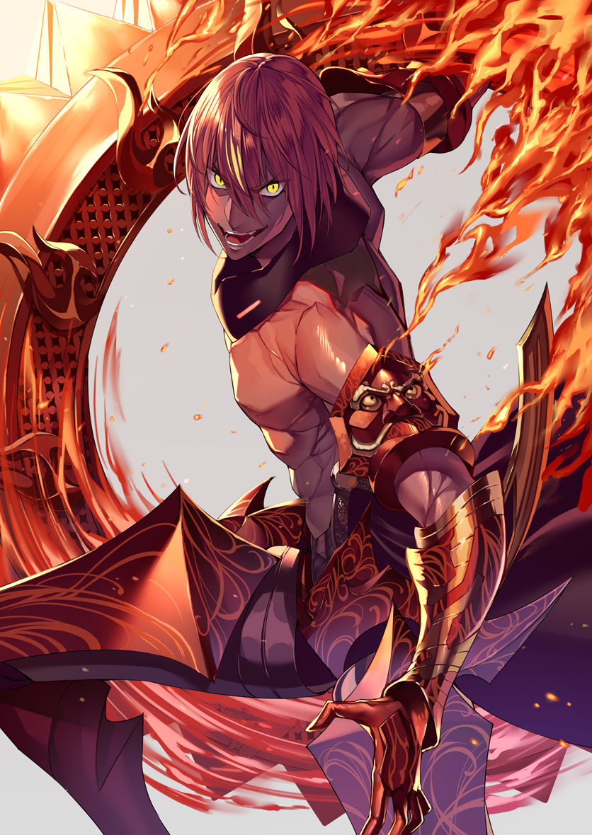 1boy abs angry armor ashwatthama_(fate/grand_order) cowboy_shot dark_skin dark_skinned_male fate/grand_order fate_(series) fire gloves grey_background heirou looking_at_viewer male_focus open_mouth red_armor red_gloves redhead shirtless simple_background smile solo weapon yellow_eyes