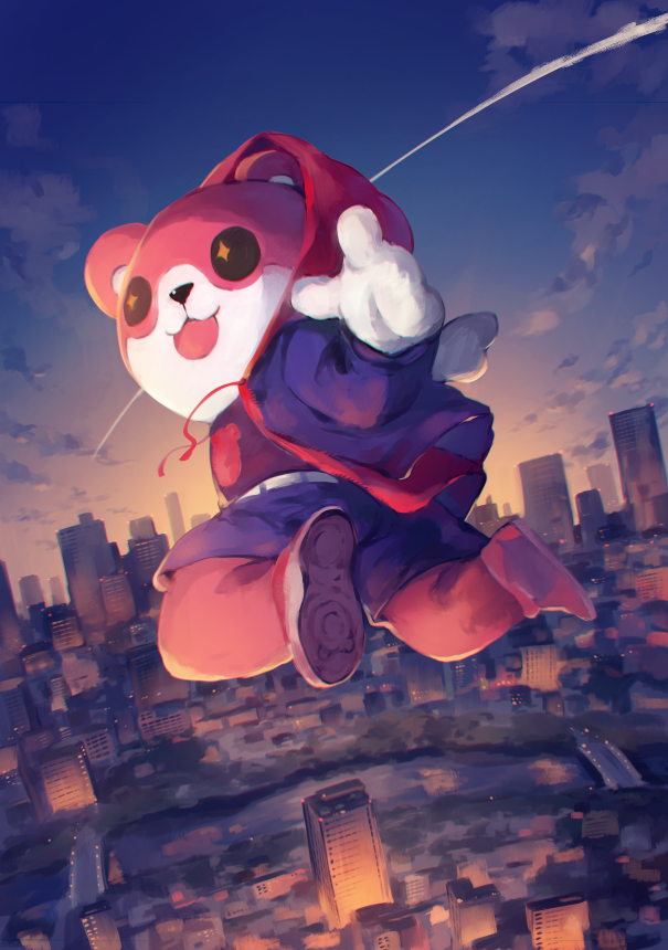 +_+ 1girl :3 animal_costume aquariumtama bang_dream! bear_costume building bushiroad cityscape commentary_request condensation_trail drawstring hood hooded_jacket jacket jumping long_sleeves looking_at_viewer looking_back marvel mascot_costume michelle_(bang_dream!) parody red_jacket shoes shorts skyscraper sneakers solo spider-man:_into_the_spider-verse spider-man_(series) sunrise_(studio) tokyo_mx twilight what