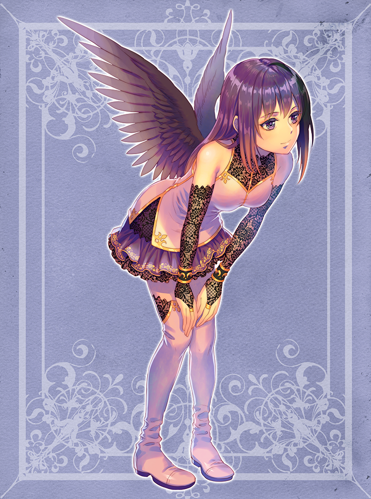 1girl black_sleeves black_wings blue_background boots bridal_gauntlets closed_mouth detached_sleeves feathered_wings fishnet_sleeves full_body hands_on_own_knees jacket jewelry leaning_forward long_hair miniskirt ooki1089 original print_skirt purple_hair purple_skirt ring shiny shiny_hair skirt sleeveless_jacket smile solo standing straight_hair thigh-highs thigh_boots violet_eyes white_footwear white_jacket wings zettai_ryouiki