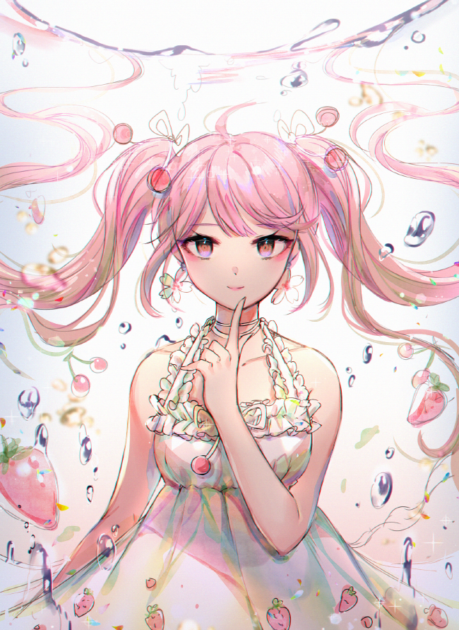 1girl bare_arms bare_shoulders cherry_hair_ornament closed_mouth collarbone commentary dress food food_themed_hair_ornament fruit grey_background hair_ornament hair_ribbon hand_up hatsune_miku index_finger_raised long_hair looking_at_viewer ozzingo partially_underwater_shot pink_hair red_eyes ribbon sakura_miku sleeveless sleeveless_dress smile solo strawberry twintails very_long_hair vocaloid water white_dress white_ribbon