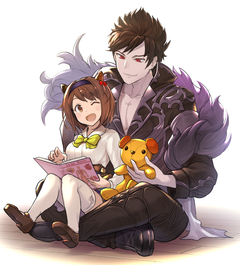 1boy 1girl belial_(granblue_fantasy) belt book breasts brown_eyes brown_hair chest crossed_legs draph eyebrows_visible_through_hair granblue_fantasy hair_ornament headband hinami_(hinatamizu) horns loafers medium_breasts one_eye_closed open_mouth pale_skin red_eyes ribbon shoes short_hair sitting sitting_on_floor sitting_on_lap sitting_on_person skirt smile stuffed_animal stuffed_dog stuffed_toy thigh-highs white_legwear yaia_(granblue_fantasy)