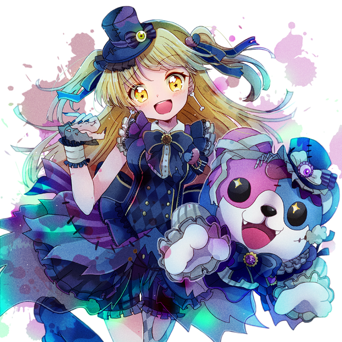 +_+ 1girl :3 :d argyle bandaged_ear bang_dream! bangs black_nails black_neckwear blonde_hair blood blood_splatter blue_ribbon blush bone_earrings boots bow brooch character_doll claw_pose dress eyeball fangs frilled_shorts frilled_sleeves frills hair_ornament hair_ribbon hat hat_bow hat_ornament heart heart_hair_ornament jewelry long_hair looking_at_viewer michelle_(bang_dream!) nail_polish neck_ribbon open_mouth patches ribbon sankaku_(wwpp) shorts smile solo star star-shaped_pupils striped striped_bow stuffed_animal stuffed_toy symbol-shaped_pupils teddy_bear tsurumaki_kokoro two_side_up vertical-striped_shorts vertical_stripes wrist_cuffs wrist_extended yellow_eyes
