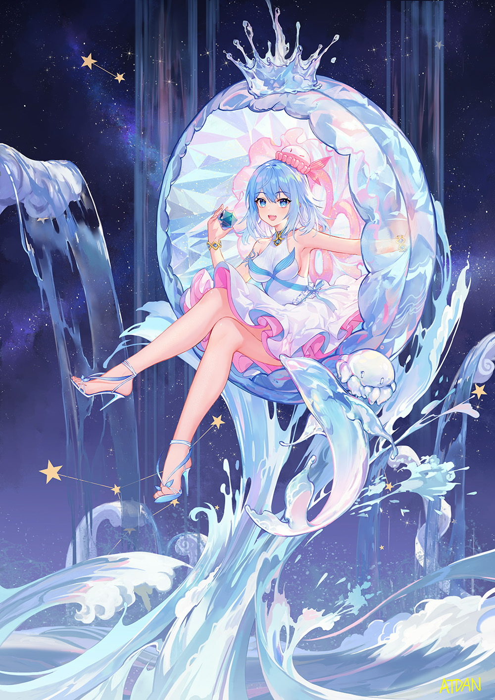 1girl :d armpits artist_name atdan bangs bare_arms bare_legs bare_shoulders blue_eyes blue_footwear blue_hair bracelet breasts commentary crossed_legs dress english_commentary eyebrows_visible_through_hair hair_between_eyes haiyi hand_up hat high_heels highres holding jellyfish jewelry large_breasts long_hair looking_at_viewer night night_sky open_mouth revision shoes sitting sky sleeveless sleeveless_dress smile solo star star_(sky) starry_sky synthesizer_v transparent water waterfall white_dress