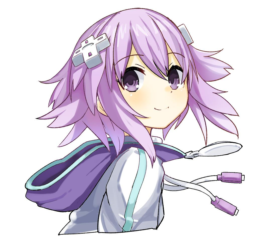 1girl d-pad d-pad_hair_ornament eyebrows_visible_through_hair from_side hair_between_eyes hair_ornament hood hooded_jacket jacket light_blush looking_at_viewer neptune_(neptune_series) neptune_(series) omnisucker purple_hair short_hair simple_background smile solo upper_body usb violet_eyes white_background