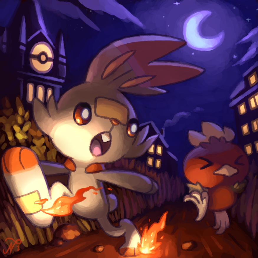 building chick closed_eyes clouds crescent_moon fire gen_3_pokemon gen_8_pokemon house night night_sky no_humans pokemon pokemon_(creature) pokemon_(game) rabbit race racing road running scorbunny star_(sky) torchic xous54