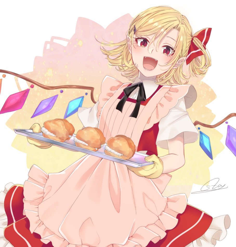 1girl :d apron asa_(coco) bangs black_neckwear black_ribbon blonde_hair collaboration colorized commentary_request cowboy_shot crystal eyelashes fangs flandre_scarlet food_request frilled_apron frills hair_between_eyes hair_ornament hair_ribbon hairclip holding holding_tray looking_at_viewer neck_ribbon no_hat no_headwear one_side_up open_mouth oven_mitts pastry petticoat pink_apron red_eyes red_ribbon red_skirt red_vest ribbon shirt short_hair short_sleeves signature skirt skirt_set slit_pupils smile solo souta_(karasu_no_ouchi) standing touhou tray vest white_background white_shirt wings
