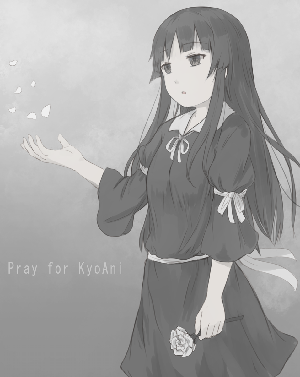1girl akiyama_mio armband bangs black_dress blunt_bangs commentary cowboy_shot dress english_text flower gradient gradient_background greyscale highres hikari_niji hime_cut k-on! kyoto_animation long_hair monochrome sidelocks solo