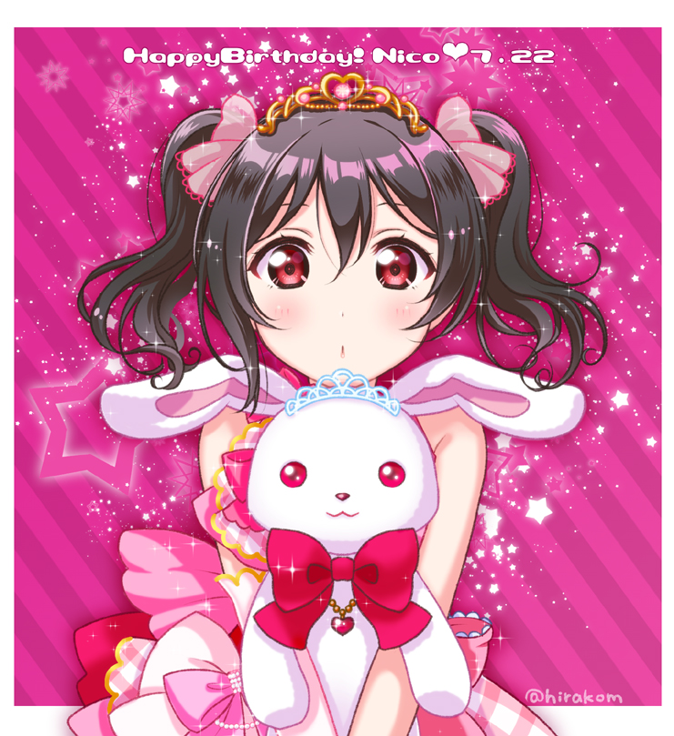 1girl :o bangs birthday black_hair character_name commentary_request dated hair_ribbon happy_birthday hirako holding holding_stuffed_animal long_hair looking_at_viewer love_live! love_live!_school_idol_project pink_eyes red_eyes ribbon shiny shiny_hair sidelocks solo star stuffed_animal stuffed_bunny stuffed_toy tiara twintails twitter_username upper_body yazawa_nico