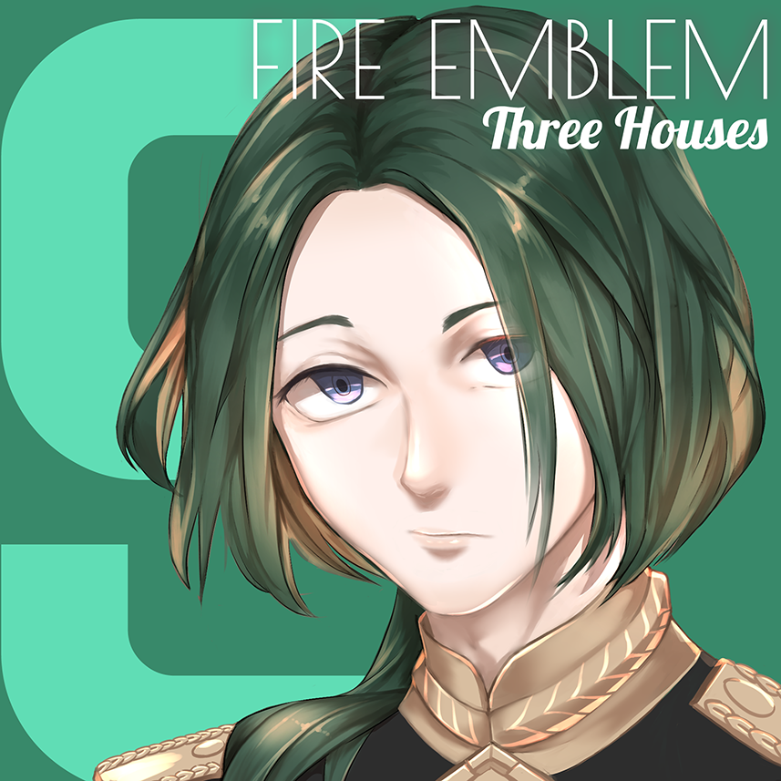 1boy copyright_name eggsding epaulettes fire_emblem fire_emblem:_three_houses green_background green_hair linhardt_von_hevring long_hair looking_at_viewer low_ponytail male_focus solo violet_eyes