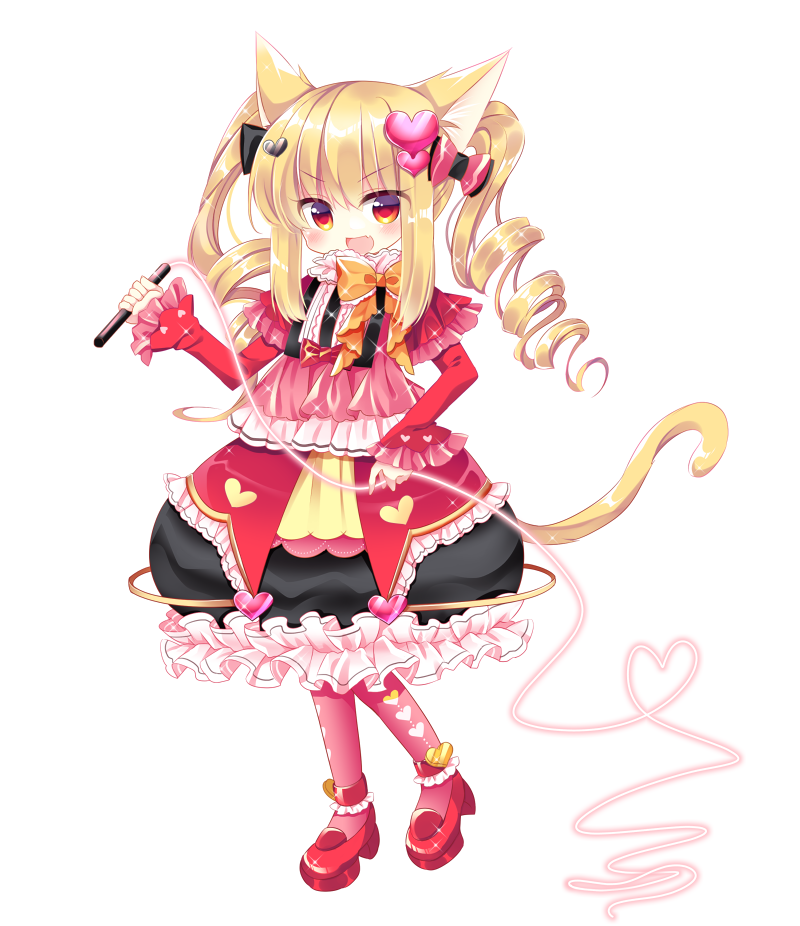 1girl :d animal_ear_fluff animal_ears bangs black_skirt blonde_hair blush bow bubble_skirt cat_ears cat_girl cat_tail drill_hair eyebrows_visible_through_hair fang frilled_skirt frills full_body hair_between_eyes hair_bow hair_ornament heart heart_hair_ornament high_heels holding long_hair long_sleeves open_mouth orange_bow original pantyhose pink_bow pink_legwear red_eyes red_footwear red_shirt shikito shirt shoes simple_background skirt sleeves_past_wrists smile solo standing tail twin_drills twintails v-shaped_eyebrows white_background wide_sleeves