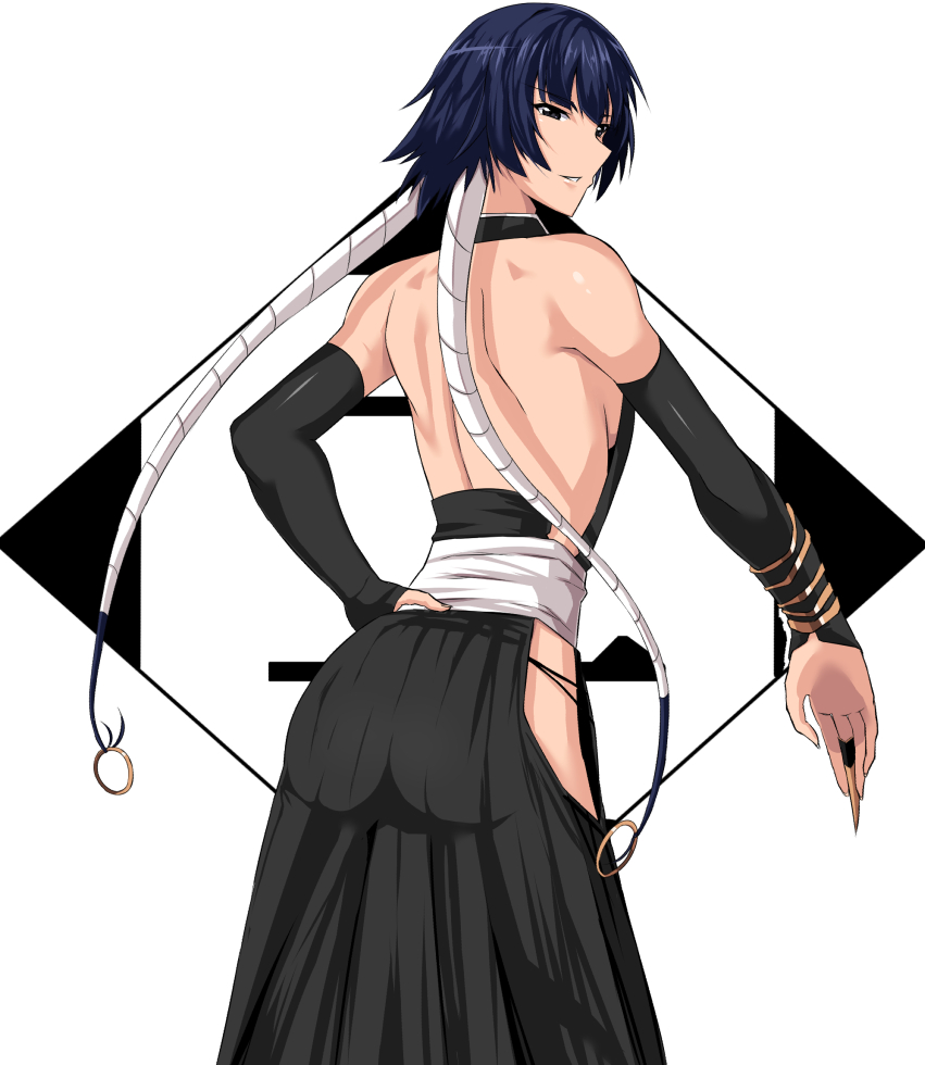1girl backless_outfit bare_hips black_eyes black_hakama black_sleeves bleach blue_hair breasts detached_sleeves from_behind hakama hand_on_hip japanese_clothes long_sleeves looking_at_viewer looking_back medium_breasts parted_lips shiny shiny_clothes shiny_skin short_hair shoulder_blades sideboob smile solo standing sui-feng takara_joney white_background