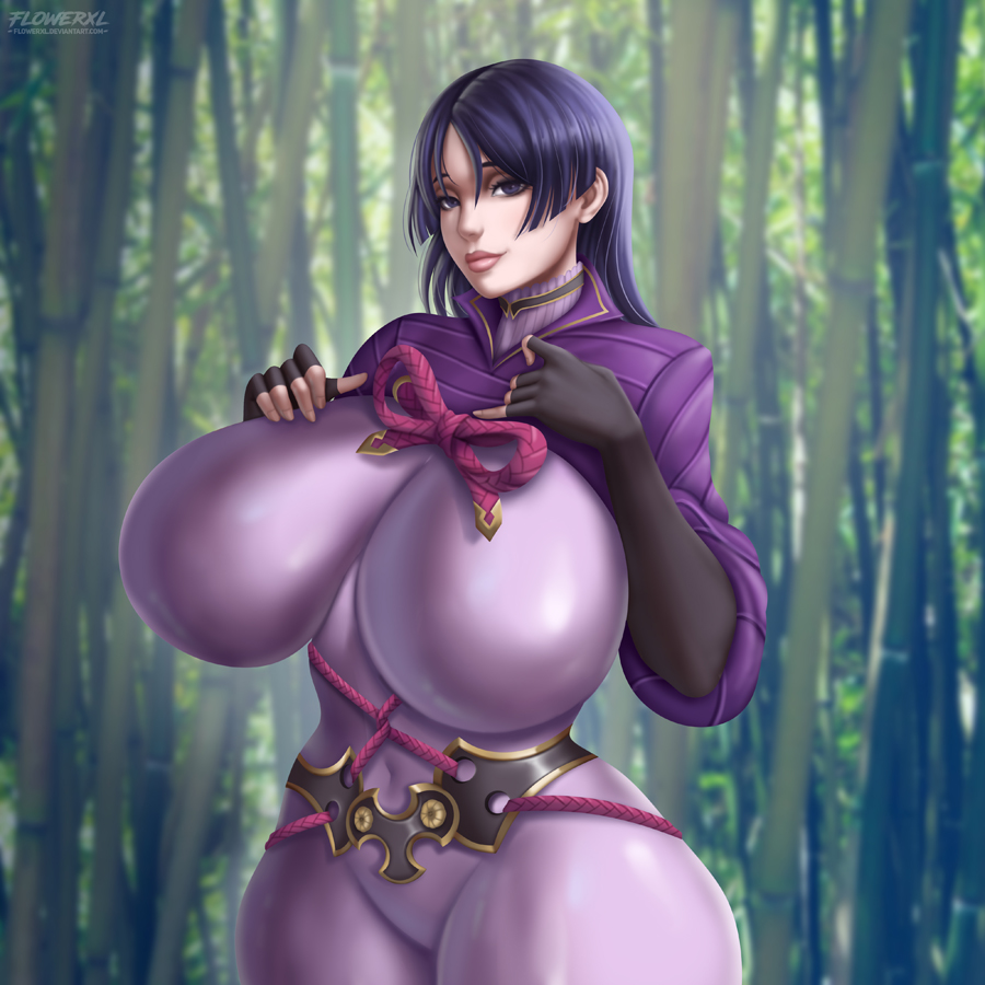 1girl blush bodysuit breasts closed_mouth curvy elbow_gloves fate/grand_order fate_(series) flowerxl1 forest gloves hand_on_own_chest hime_cut huge_breasts lips long_hair looking_at_viewer minamoto_no_raikou_(fate/grand_order) nature purple_bodysuit purple_hair ribbon rope shiny shiny_clothes shiny_hair smile tight tree violet_eyes