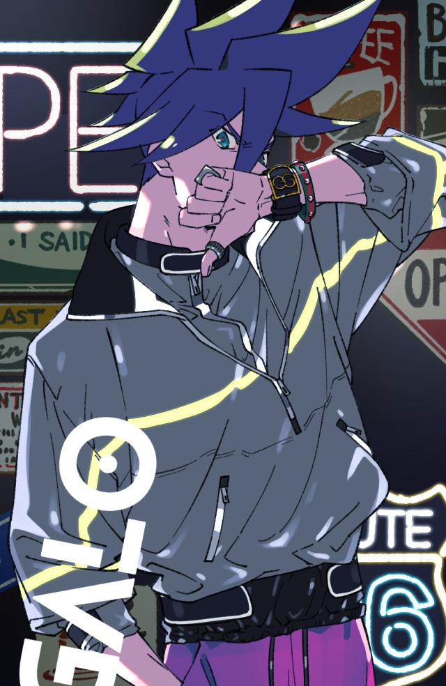 blue_eyes blue_hair bracelet contemporary galo_thymos jacket jewelry long_sleeves male_focus neon_lights pants promare ring shirikon solo_focus spiky_hair thumbs_down track_pants watch watch