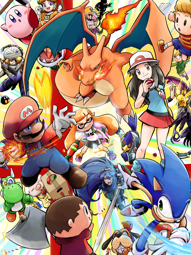 axe ayo009 bag black_wristband blonde_hair blue_(pokemon) breasts brown_hair character_request charizard claws closed_eyes commentary_request copyright_request creature electricity facial_hair falco_lombardi fire flying gen_1_pokemon hat holding holding_poke_ball holding_sword holding_weapon inkling kirby kirby_(series) mario mario_(series) medium_breasts miniskirt mustache pikachu pikmin_(series) piranha_plant poke_ball poke_ball_(generic) pokemon_(creature) porkpie_hat princess_daisy red_footwear red_skirt sheik shoes skirt smile sonic sonic_the_hedgehog star_fox super_smash_bros. sword the_legend_of_zelda weapon wristband yoshi