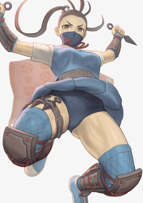 1girl antenna_hair arms_up backlighting blue_buruma blue_footwear blue_legwear blue_skirt breasts brown_eyes brown_hair buruma commentary_request dual_wielding face_mask forehead from_behind greaves grey_background holding holding_weapon ibuki_(street_fighter) jumping knee_pads kunai long_hair looking_at_viewer mask neck_ribbon ninja noppo_(tarstation) pleated_skirt ponytail red_ribbon reverse_grip ribbon school_uniform shirt shoes short_sleeves simple_background skirt small_breasts solo street_fighter street_fighter_v thigh-highs thigh_strap upskirt v-shaped_eyebrows vambraces weapon white_shirt wind wind_lift