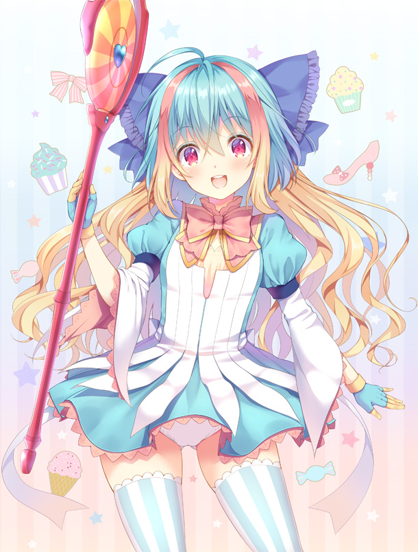 1girl :d bangs blonde_hair blue_bow blue_dress blue_gloves blue_hair bow commentary_request cupcake dress eyebrows_visible_through_hair food frilled_bow frills gloves hair_between_eyes hair_bow heart holding holding_staff kuroe_(sugarberry) little_alice_(wonderland_wars) long_sleeves multicolored_hair open_mouth panties pink_bow puffy_short_sleeves puffy_sleeves red_eyes round_teeth short_over_long_sleeves short_sleeves smile solo staff standing star striped striped_background striped_legwear teeth thigh-highs two-tone_hair underwear upper_teeth vertical-striped_background vertical-striped_legwear vertical_stripes white_panties wide_sleeves wonderland_wars